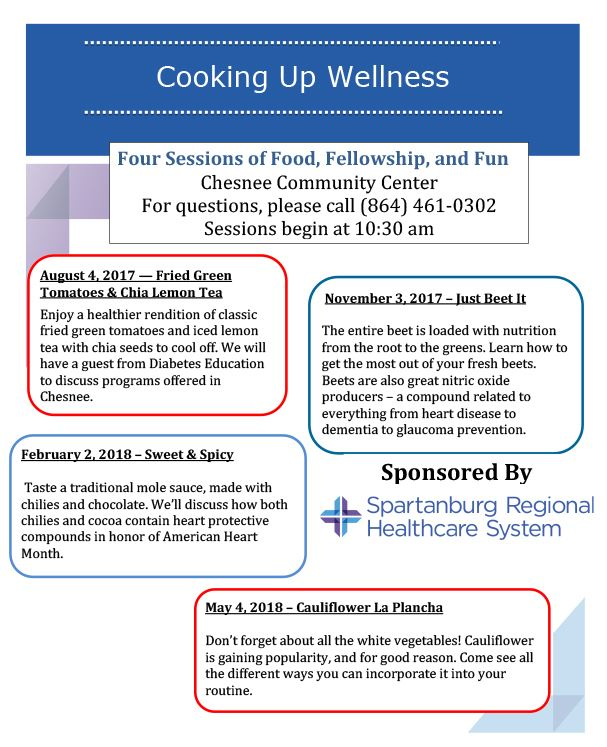 Cooking up Wellness flyer with information